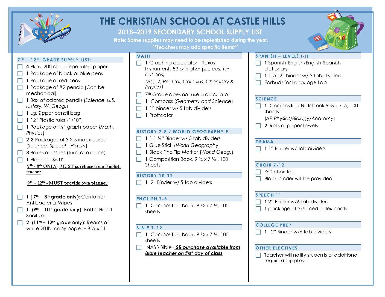 2018-2019 Secondary School Supply List — The Christian