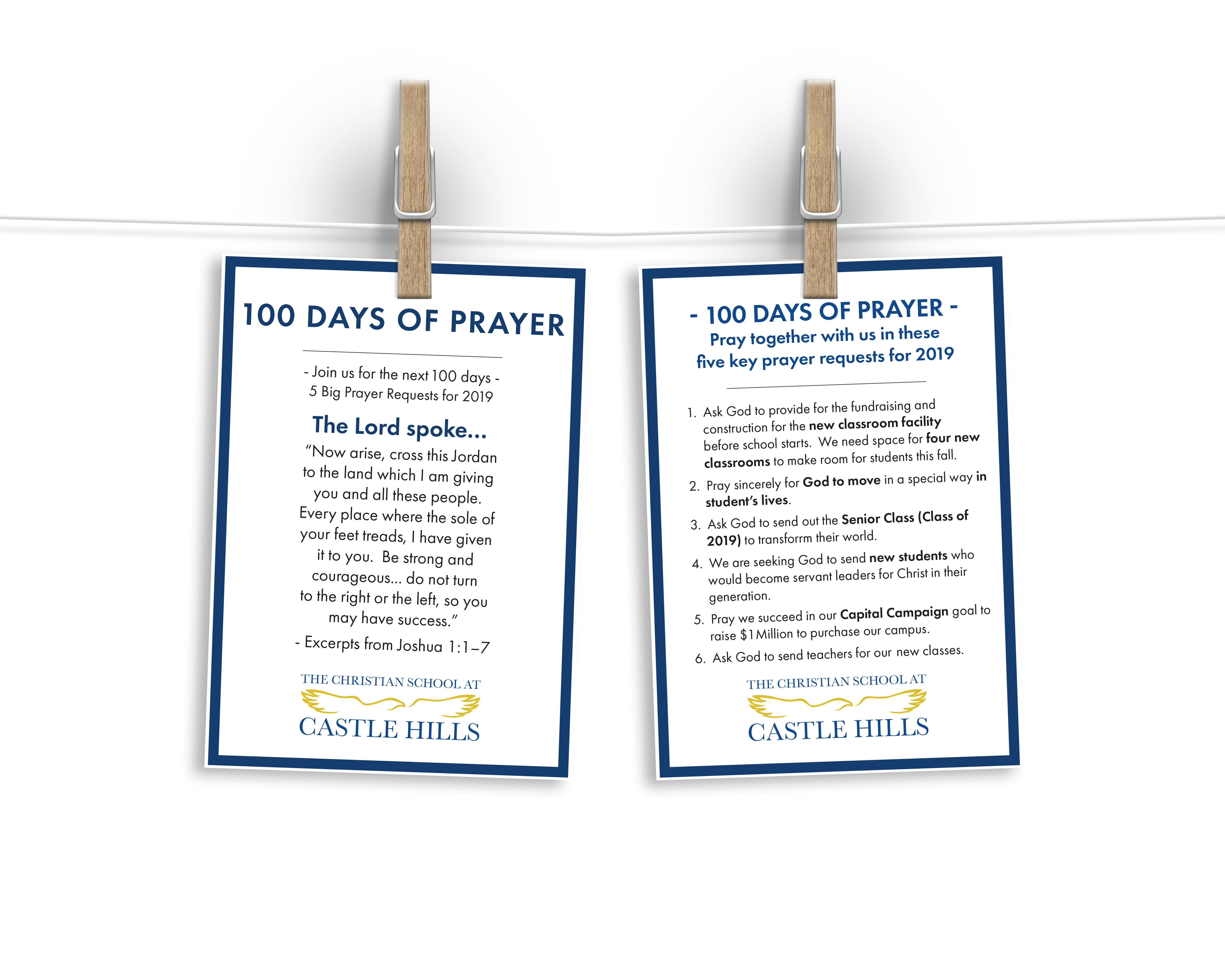 100 Days of Prayer MockUp | The Christian School at Castle Hills